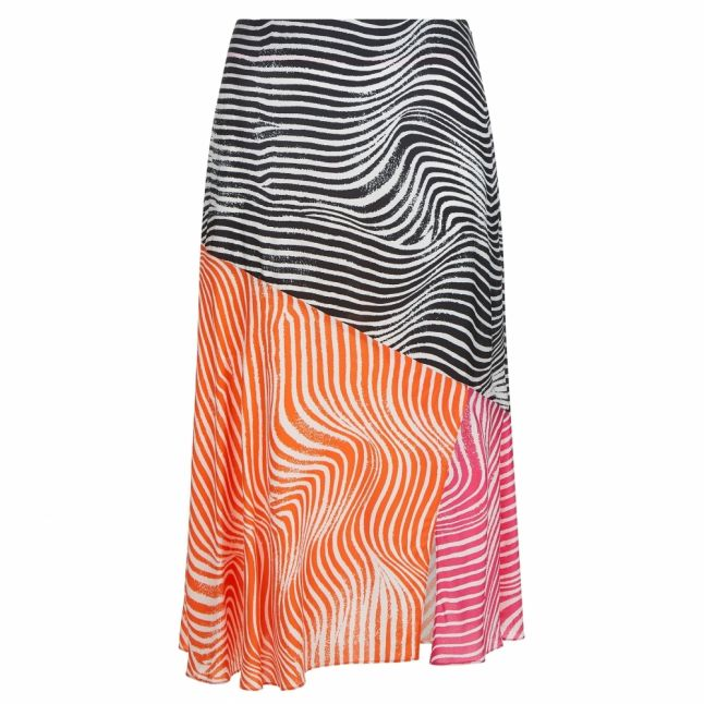 Womens Ivory Multi Canddra Zebra Panel Midi Skirt