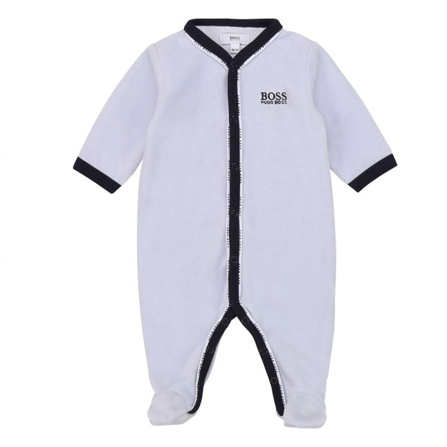 Baby Pale Blue Logo Trim Babygrow