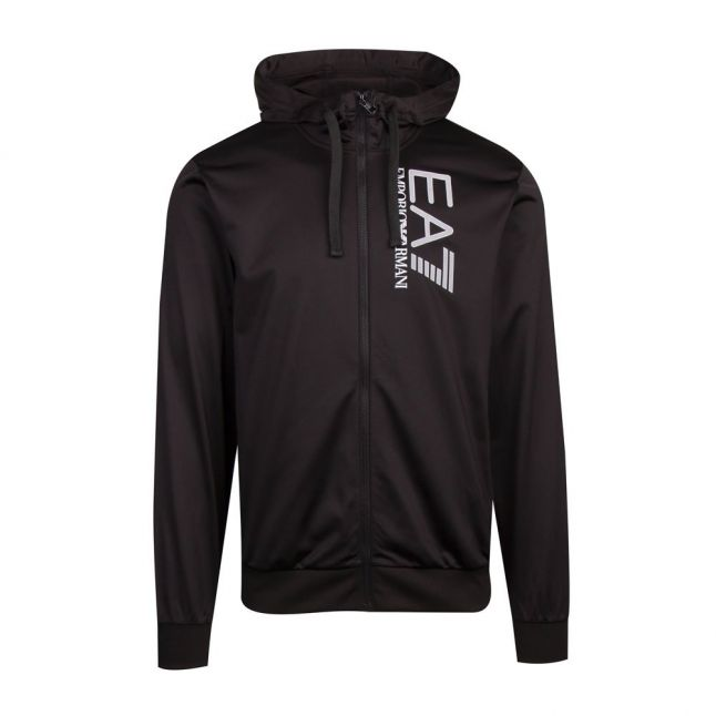 Mens Black Visibility Poly Hooded Zip Through Tracksuit