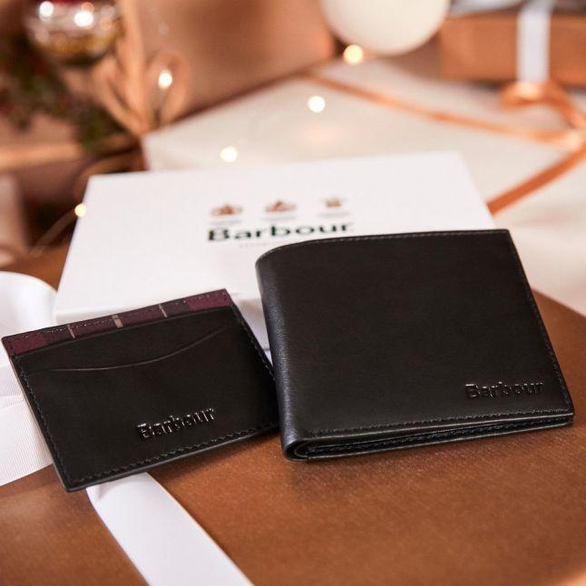 Mens Black Wallet & Card Holder Gift Set