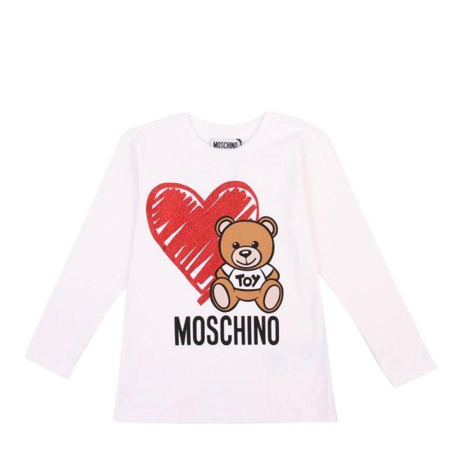 Girls Optical White Toy Glitter Heart L/s T Shirt
