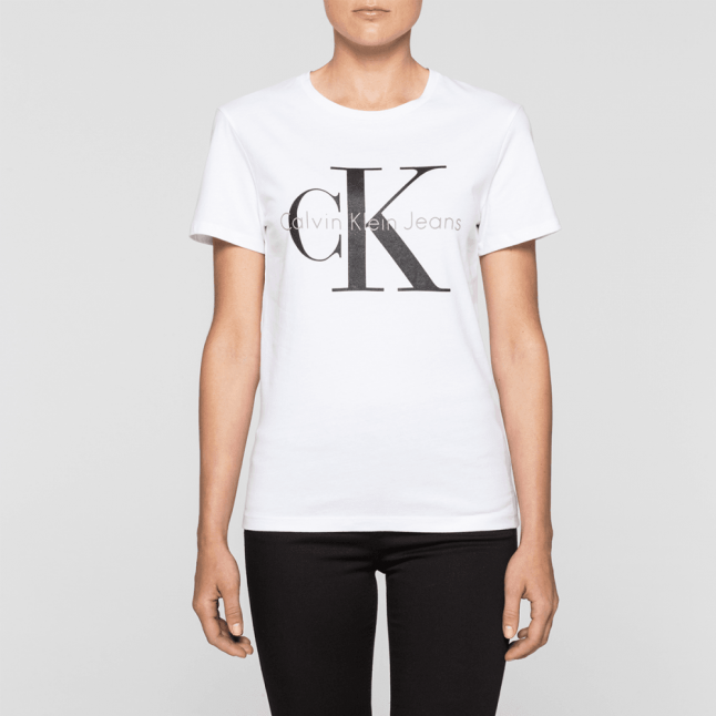 Womens Bright White Monogram Logo Regular Fit S/s T Shirt