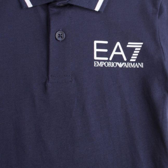 Boys Navy Tipped Logo S/s Polo Shirt