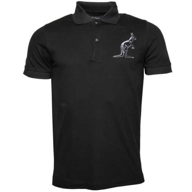 Mens Black Large Branded S/s Polo Shirt