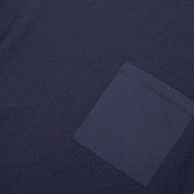 Mens Navy Zaplan Textured L/s T Shirt