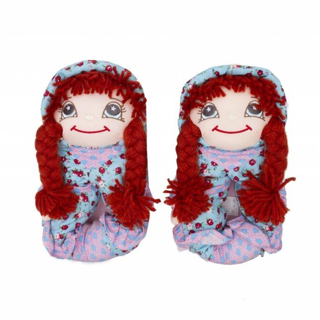 Girls Brown Hair Doll Slippers (24-36)