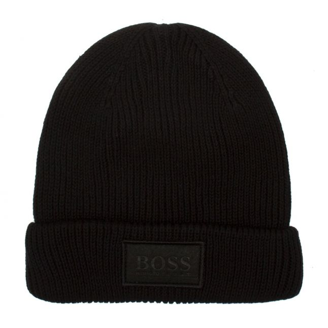 Boys Black Branded Tab Knitted Hat