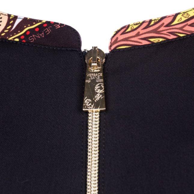 Womens Black Patterned Trim Zip Detail Dress