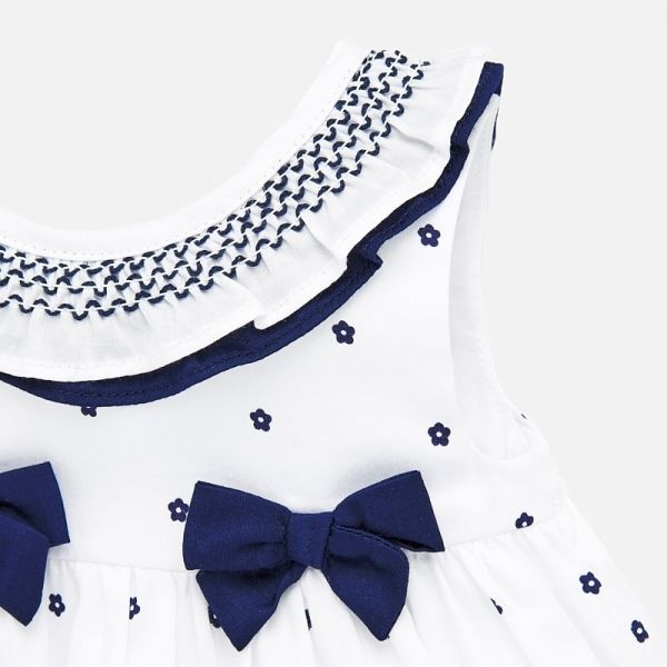 Baby Nautical White Woven Collar Bow Dress