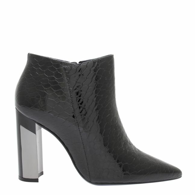 Womens Black Lolian Croc Heeled Boots