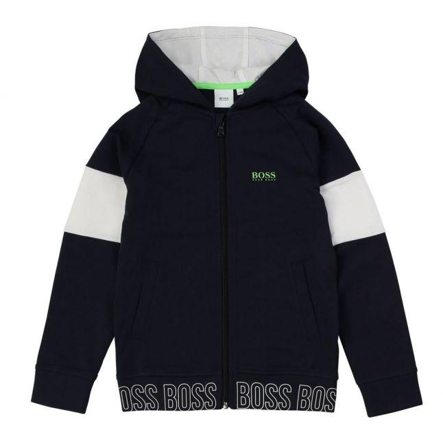 Boys Navy Branded Trim Hooded Tracksuit