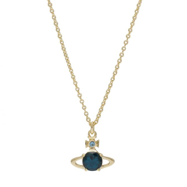 Womens Gold/Dark Turquoise Reina Pendant Necklace