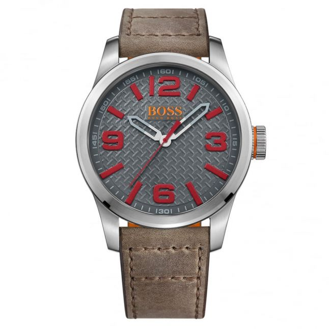 Watches Mens Grey Dial Paris Leather Strap Watch