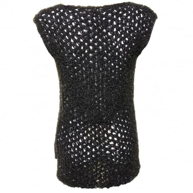 Womens Black Mesh Open Knit Top