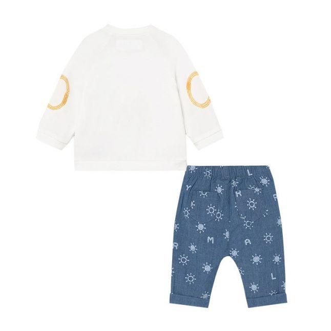 Baby White/Blue Sun Top & Pants Set