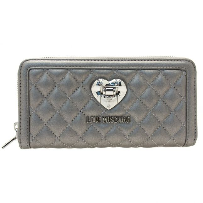 Womens Silver Quilted Purse