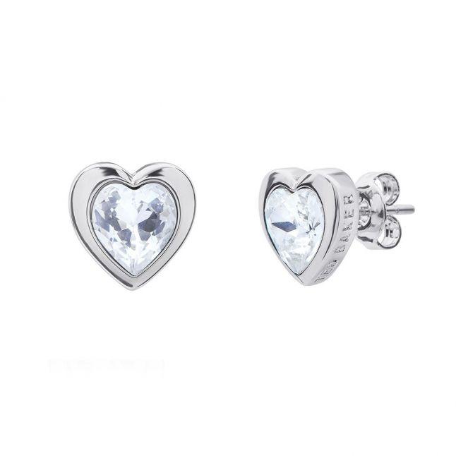 Womens Silver Crystal Han Heart Earrings