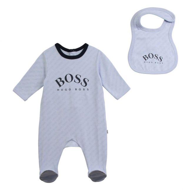 Baby Pale Blue Logo Babygrow & Bib Set