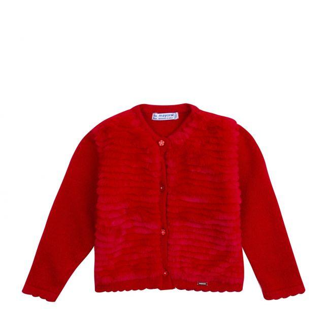 Infant Red Faux Fur Detail Cardigan