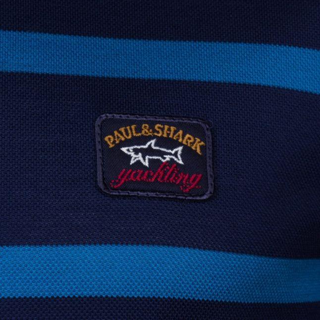 Paul & Shark Mens Blue Striped Shark Fit S/s Polo Shirt
