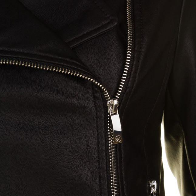 Womens Black Faux Leather Biker Jacket