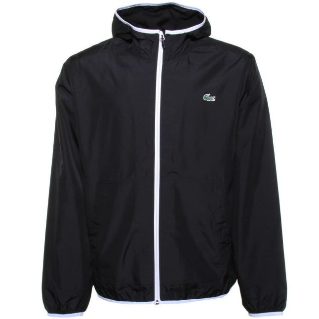 Mens Black Branded Hooded Jacket