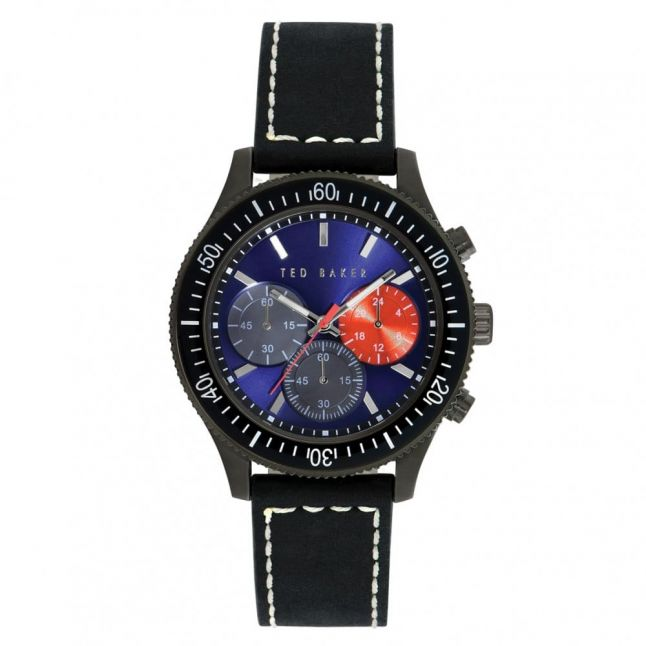Mens Blue Dial Chronograph Black Leather Strap Watch