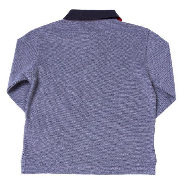 Boys Grey Melange Contrast Collar L/s Polo Shirt