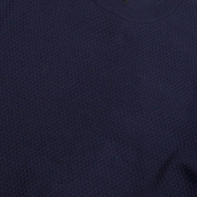 Mens Navy Seer Textured Crew Knitted Jumper