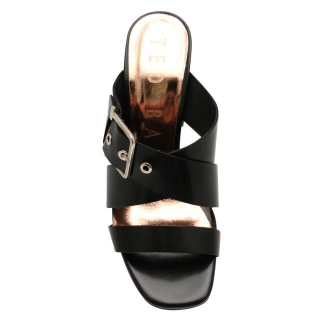 Womens Black Peataa Buckle Mule Sandals