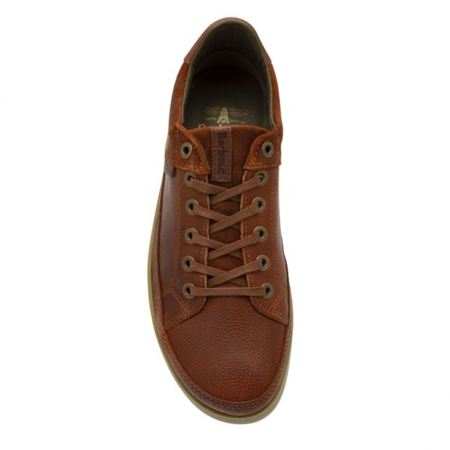 Mens Cognac Texas Bilby Leather Trainers