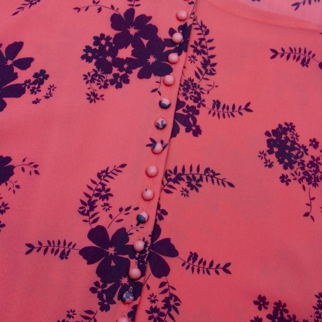 Womens Coral Peach Blooming Bouquet Print Midi Dress