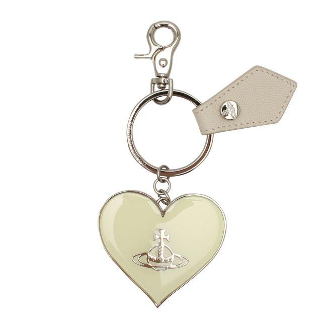 Womens Cream Windsor Mirror Heart Orb Keyring