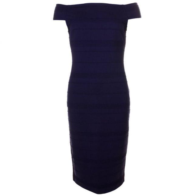 Womens Dark Blue Inan Textured Bardot Dress