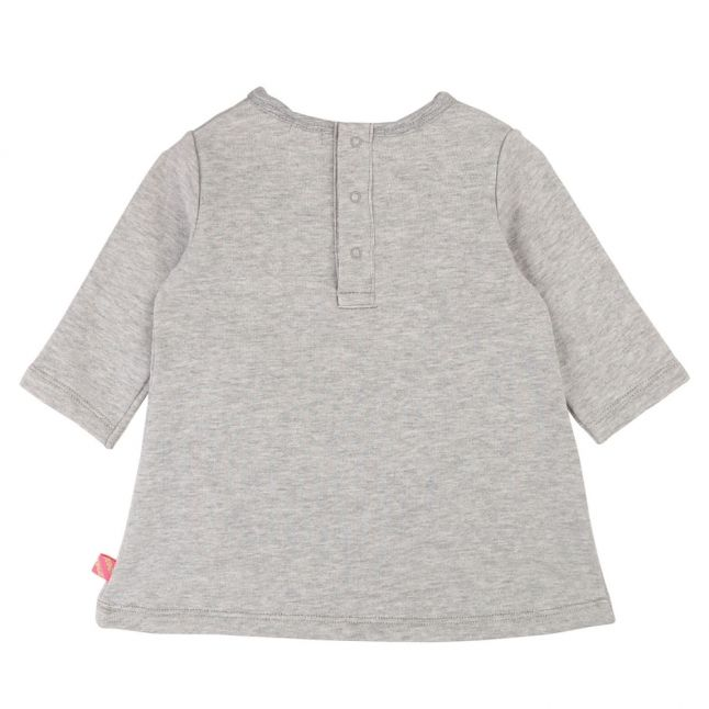 Baby Light Grey Marl Unicorn Pocket Dress