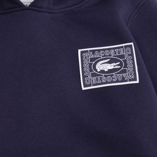 Boys Navy Croc Logo Hooded Sweat Top