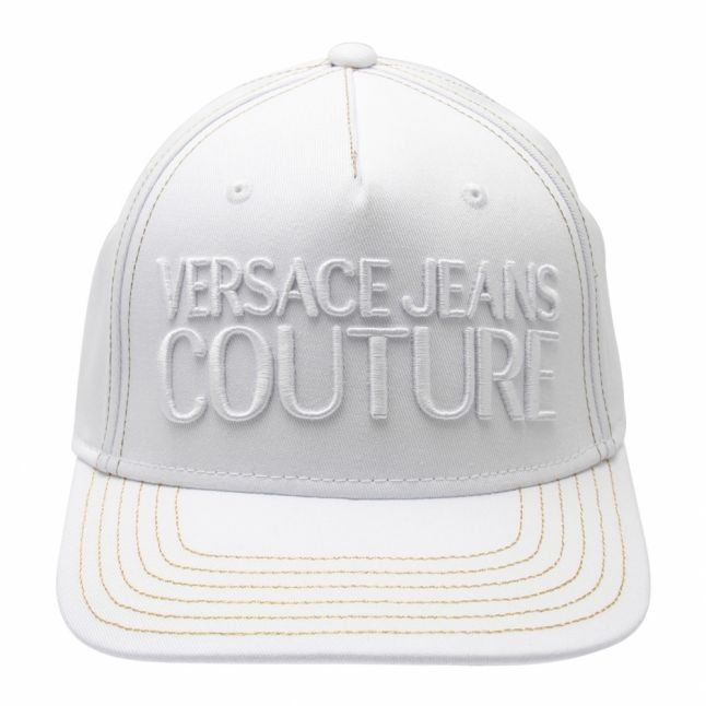 Mens White Branded Logo Cap