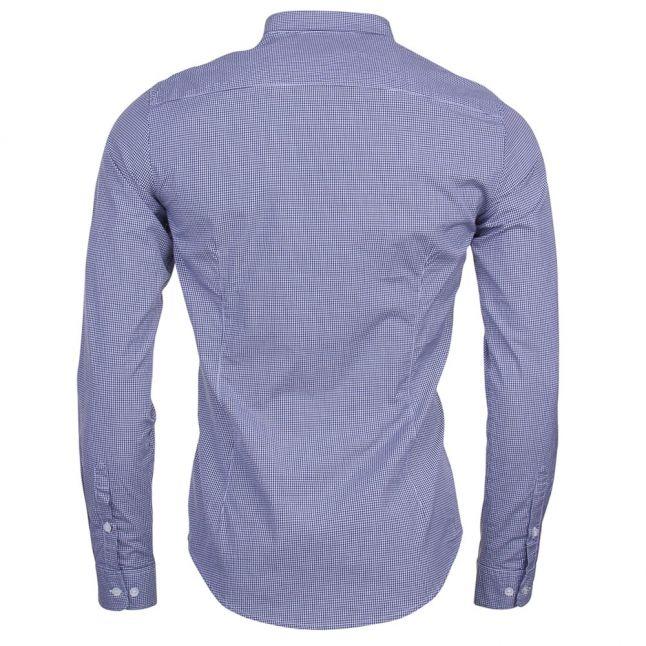 Mens Blue Printed Regular Fit L/s Shirt