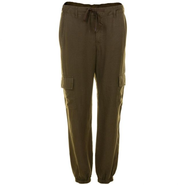 Womens Dark Olive Night Military Tencel Tapered Trousers