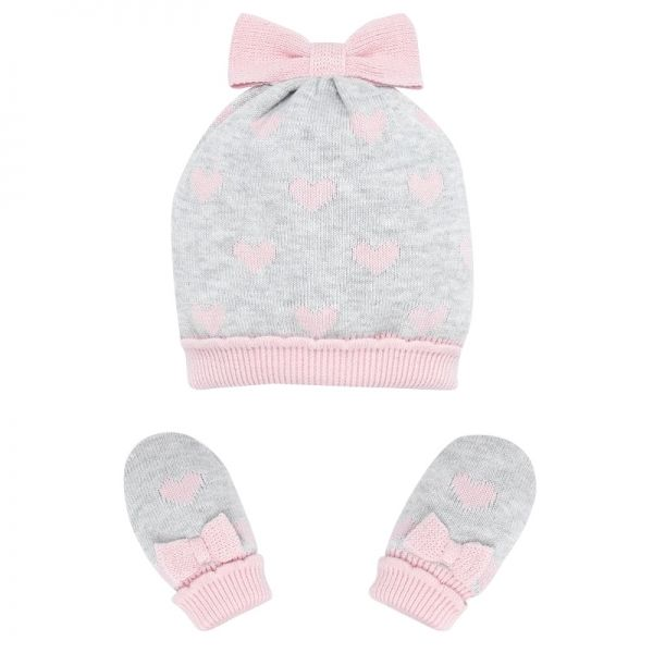 Baby Pearl Heart Knitted Hat & Mittens