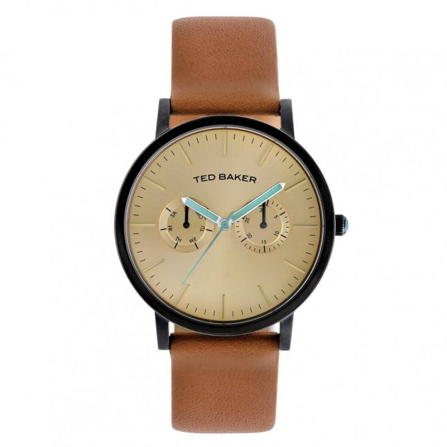 Mens Gold Dial Brown Leather Multifunctional Strap Watch