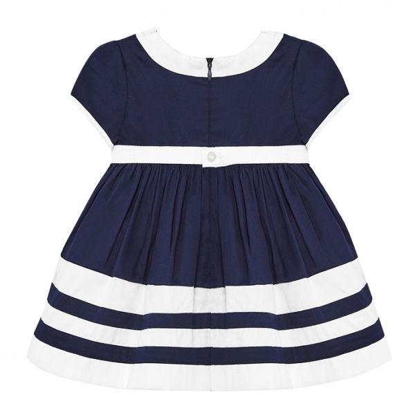 Infant Navy Satin Bow Dress
