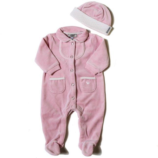 Baby Rose Velour Babygrow & Hat Set