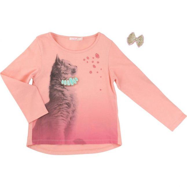 Girls Peach Cat & Brooch L/s Tee Shirt