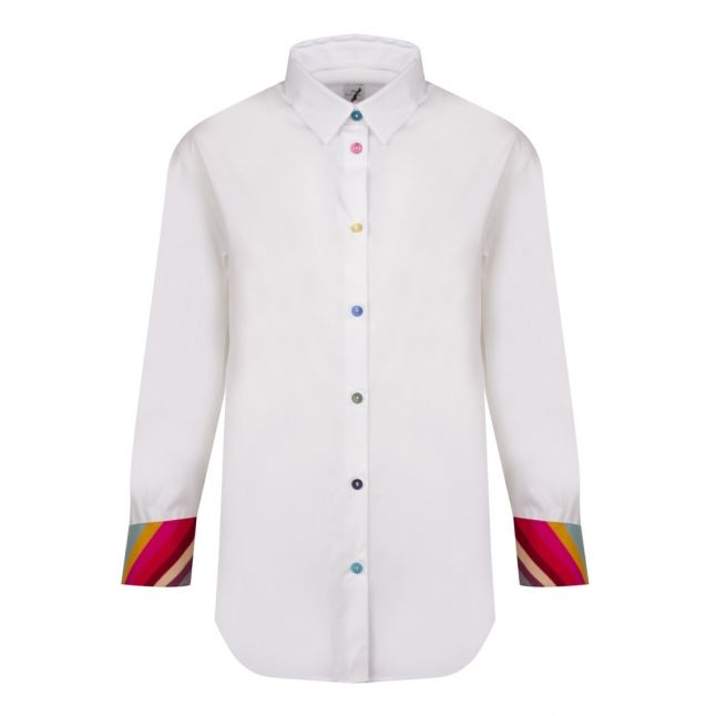 Womens White Swirl Cuff Slim Fit L/s Shirt