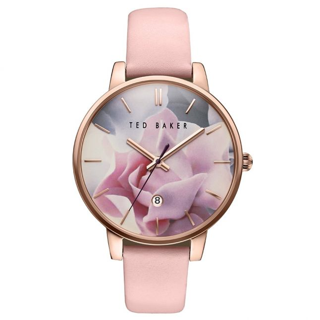 Womens Pink Porcelain Rose Dial Leather Strap Watch