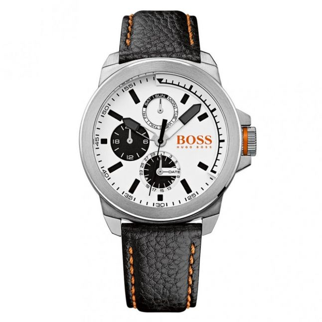 Watches Mens White Dial New York Leather Strap Watch