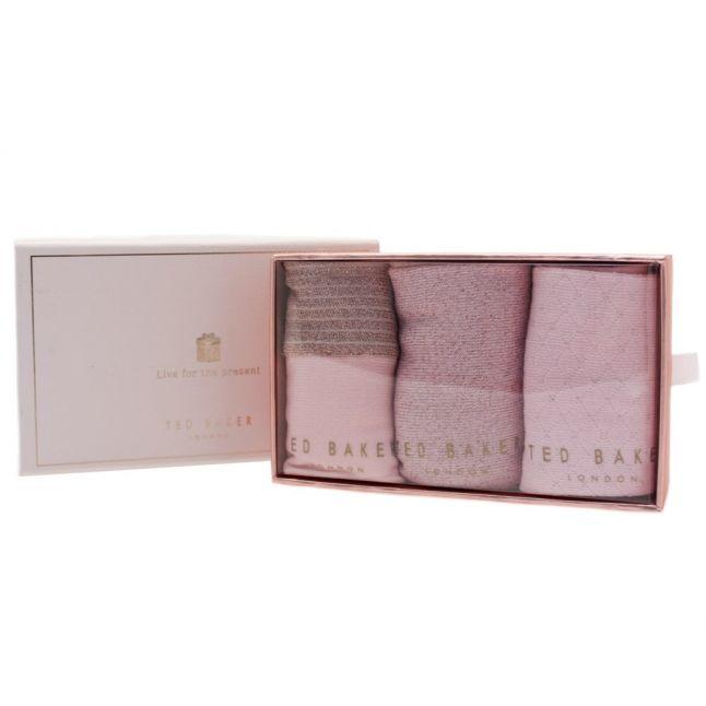 Womens Nude Pink Glintee 3 Pack Socks