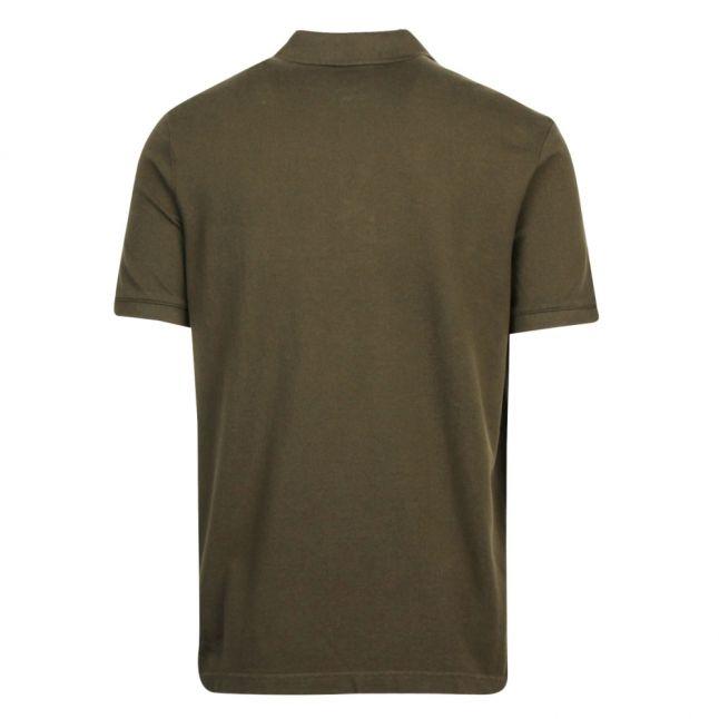 Mens Dark Olive Pique Contrast Logo S/s Polo Shirt
