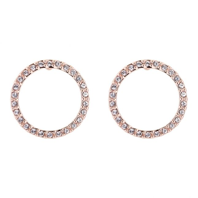 Womens Rose Gold/Crystal Leeza Luunar Circle Earrings